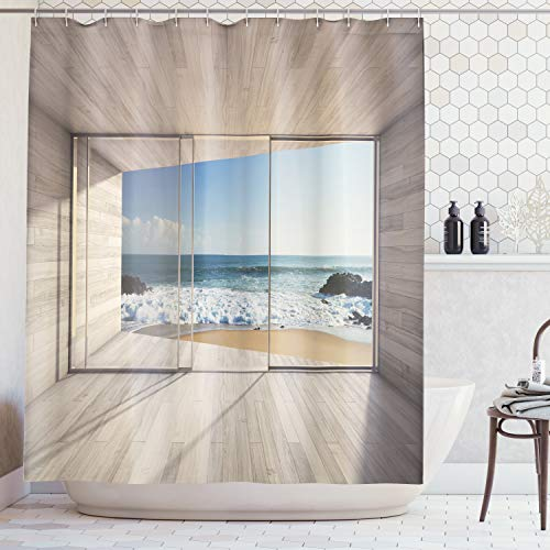 Ambesonne Beach Shower Curtain Set House Decor, Modern Lounge Area with Large Window and View of Sea Waves Rocks, Bathroom Accessories, with Hooks, 84 Inches Extra Long, Tan Blue
