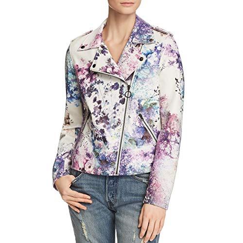 Bagatelle Women's Floral Print Faux Leather Biker Jacket, - Trench Womens Floral Coat
