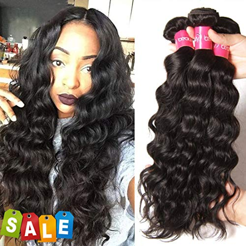 Longqi Brazilian Natural Wave Virgin Hair 3 Bundles 20 18 16inch-10A Unprocessed Remy Human Hair Wavy Weave Full Head for Black Women (16 18 20 Inches, 300g, Natural Color)