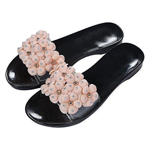 Eastlion Heel Flat Slippers Women slip Slippers Breathable Beach S2 Camellia Black Non Summer Flower S4qBZS