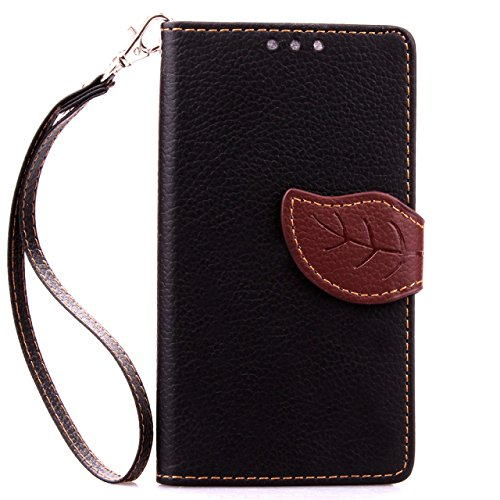 Wkae Case Cover Modelo de la hoja cierre magnético del tirón del cuero del soporte del caso de la PU caja de la carpeta de la cubierta de silicona suave con la ranura para tarjeta de efectivo correa d Black