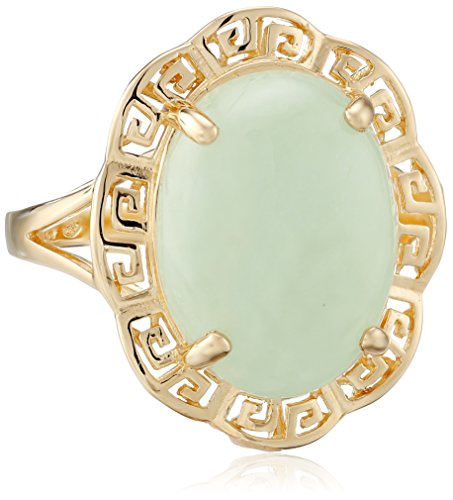 18k Yellow Gold Over Sterling Silver Green Jade Greek Key Ring, Size 7 - Gold Over Silver Green