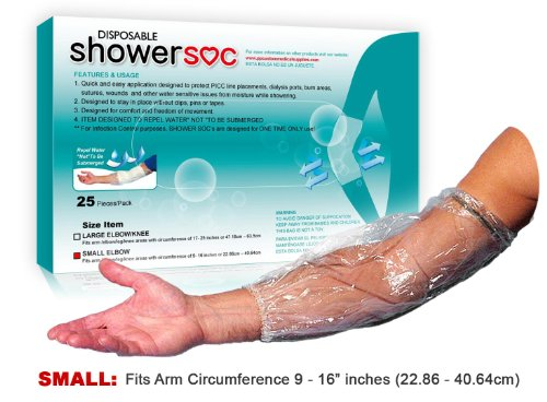 - PICC Line Waterproof Covers for Shower - 25 Pack - Small - Elbow,Knee - Wound Protection, Sleeve, Guard, Disposable, Barrier - Fits Bicep-Knee-Arm 9