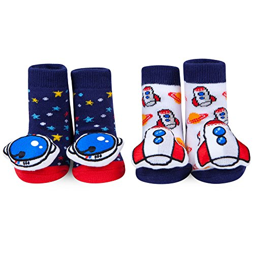 WADDLE Baby Boys Space Rattle Socks Red White and Blue Newborn Baby Booties 0-12 M
