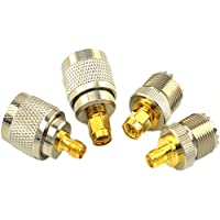 SMA-UHF RF Connectors Kit SMA to UHF PL259 SO239 4 Type Set SMA Jack/Plug to UHF Nickel Gold Plated Test Converter Pack of 4
