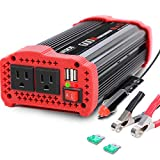 600W Car Power Inverter 12V DC to 110V AC Converter with 3.1 A Dual USB Quick Car Charger Adapter for Smart Phone, Laptop