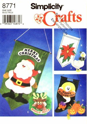 Simplicity 8771 Crafts Sewing Pattern Halloween Poinsettia Santa Christmas Banners & Wall -
