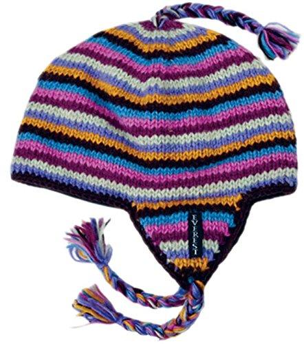 Everest Designs Girls Stripe K Ear Flap, 5-9 Years, Purple
