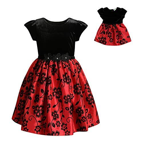 Dollie & Me Girls' Big Velvet/Flock Print Matching Doll Dress, Black/Red, 8 -