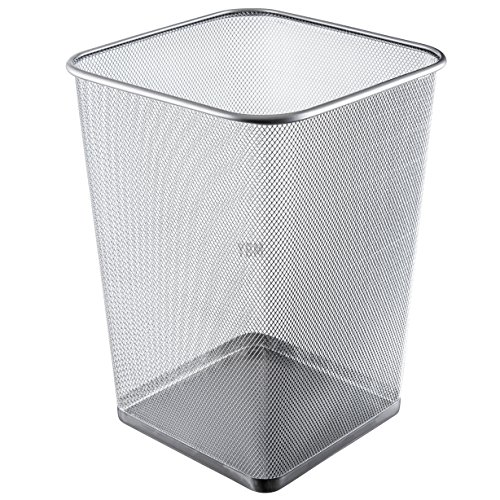 Ybmhome Steel Silver Mesh Square Open Top Waste Basket Bin Trash Can for Office Home 2487 (1, 5 Gallon) ()