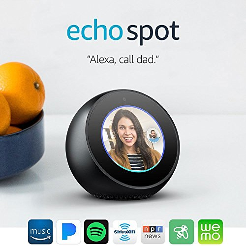 echo spot smart display with alexa black. Black Bedroom Furniture Sets. Home Design Ideas