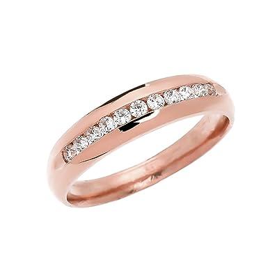 2fd806b1eea26 Men's 14k Rose Gold Diamond Channel-Set Wedding Band|Amazon.com