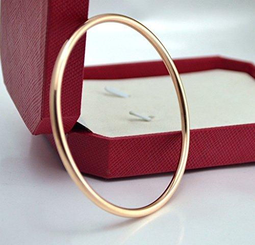 Findout dames 14K plaqué or rose en acier brillant entre les bracelets au tour de titane, pour les femmes les filles, (f1390)