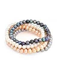 Bling Jewelry Set of 4 Cultured Pearl Stretch Bracelets Multicolor