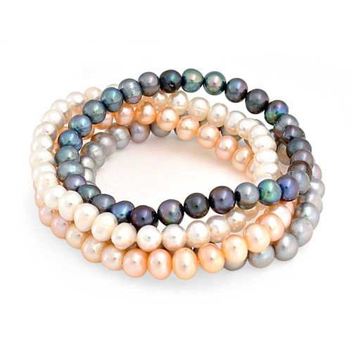 Bling Jewelry Set of 4 Freshwater Cultured Pearl Stretch Bracelets Multicolor