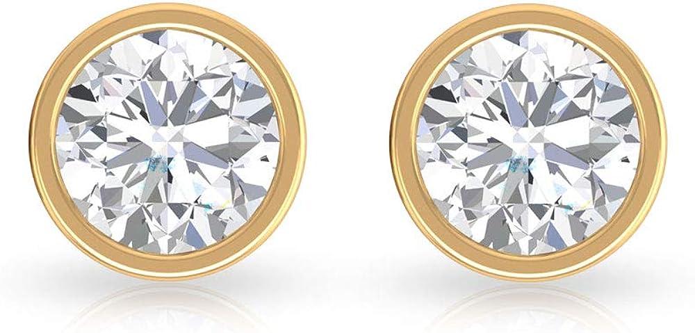Juego de bisel de oro de 1 quilate certificado IGI, pendientes de diamante redondo con claridad de color IJ-SI, pendientes de dama de honor, para mujer, cumpleaños, aniversario, tornillo hacia atrás