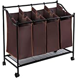 Songmics 4-bag Rolling Laundry Sorter Cart Hamper Heavy Duty Laundry Basket with Wheels Large Bags Dark Brown URLS96Z