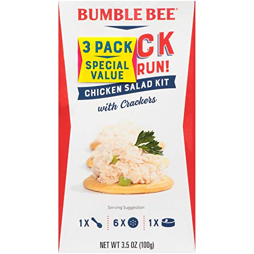 BUMBLE BEE Snack at the Run Chicken Salad with Crackers, Canned Food, High Protein Snacks & Groceries, 3.5 Ounce (Pack of three)