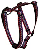 Hamilton Adjustable Comfort Nylon Dog Harness, Black Multi-Colored Weave Pattern, 1″ x 30-40″