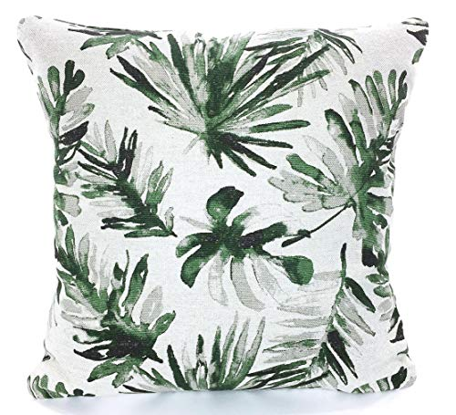 Designer Pillow Covers Palm Leaf Pillows Green Tan Black Basketweave Cushions Tropical Decor Heavy Weight Flax Sofa Bed Pillow Various Sizes ()