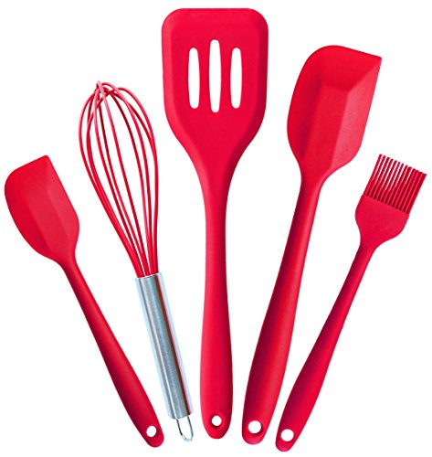 StarPack Basics Range Silicone Kitchen Utensils Set (5 Piece) in FDA Grade with Hygienic Solid Coating + Bonus 101 Cooking Tips (Cherry Red)