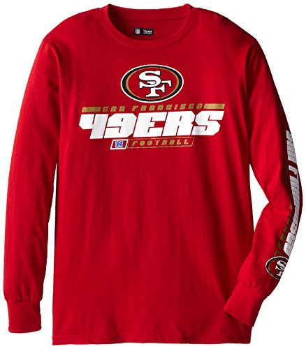 NFL San Francisco 49ers Men's Primary Receiver IV Long Sleeve Tee, Bright Cardinal, (San Francisco 49ers Black Primary)