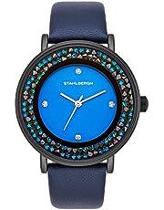 Stahlbergh Montre bracelet Hamar Femme Quartz orné de Swarovski® Crystals bleu bracelet cuir véritable Etanchéité 3 ATM 10060100