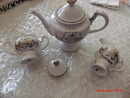 (Norcrest Fine China 25th Anniversary Tea or Coffee Pot with Covered Sugar and Creamer)