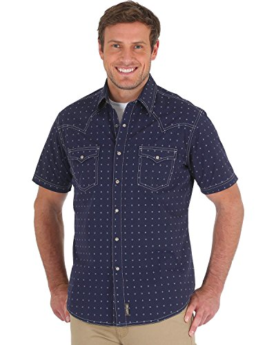 (Wrangler Men's Retro Premium Short Sleeve Snap Front Shirt, Navy, L)