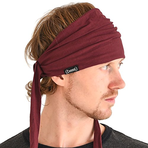 (CHARM Men Hippie Japanese Headband - Women Hair Band Boho Bohemian Head Wrap Pirate Bandana Maroon)