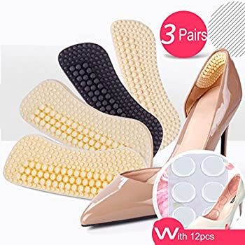 Heel Cushion Inserts,Heel Pads,Too Big Inserts Shoes Cushion 4D(3pairs) Gel Spot(12pcs) high Heel Inserts (Black)