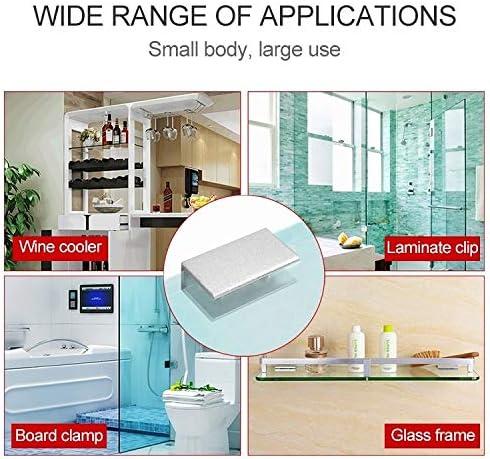 Abrazadera de fijaci/ón de vidrio 8 mm L 10 piezas de doble cristal de la aleaci/ón de aluminio Agujero de fijaci/ón del clip Fijaciones de espejo