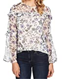 CeCe Women's Long Sleeve Tiered Ruffle Bloomsbury Floral Blouse Antique White Large