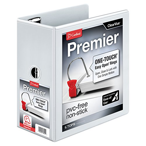 Cardinal Premier Easy Open 3-Ring Binder, 5, ONE-Touch Easy Open Locking Slant-D Rings, 1,050-Sheet Capacity, ClearVue Cover, White (10350CB)