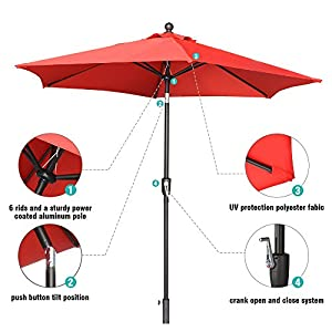 LCH 9 Ft 6 Ribs Outdoor Umbrella Patio Backyard Market Table Umbrella Sturdy Pole Push Button Easily Tilt Crank, Vibrant Red