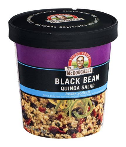 Dr. McDougall's Right Foods Lower Sodium Black Bean Quinoa Salad, 2.6 Ounce Cups (Pack of 6) Made w/Organic Quinoa, Vegan, Gluten-Free, Non-GMO, Paper Cups From Certified Sustainably-Managed Forests by Dr. McDougall's Right Foods