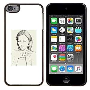 Dragon Case - FOR Apple iPod Touch 6 6th Generation - woman portrait white sad depression - Caja protectora de pl??stico duro de la cubierta Dise?¡Ào Slim Fit