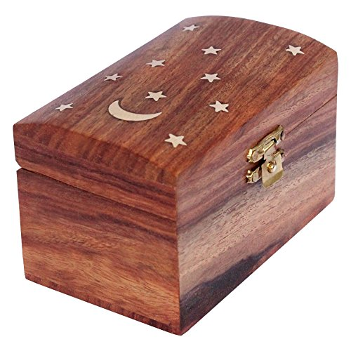 ITOS365 Handmade Wooden Jewelry Box for Women Jewel Organizer Moon and ()