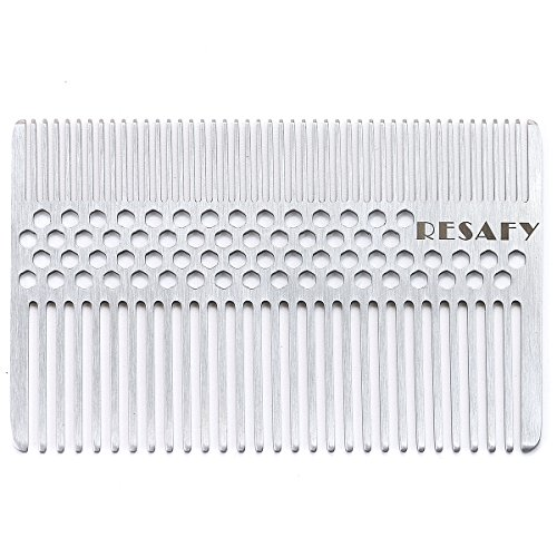 Price comparison product image Resafy Stainless Steel Hair Comb Wallet Comb Credit Cart Size Pocket Comb
