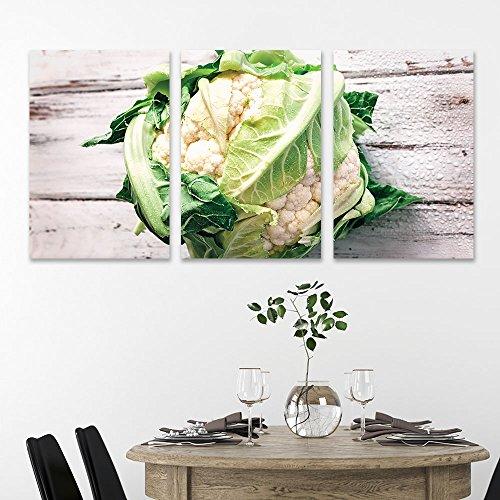 3 Panel Cauliflower on Rustic Wood Background Gallery x 3 Panels