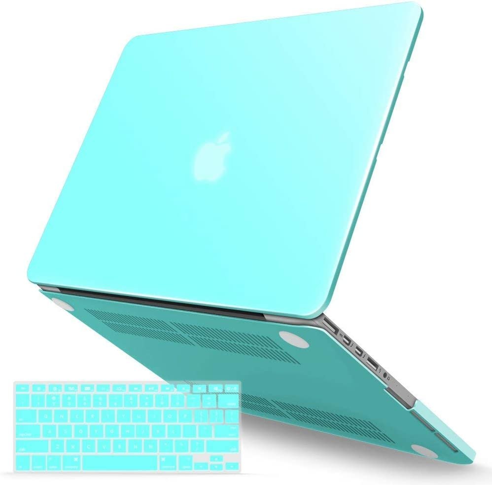 IBENZER MacBook Pro 15 Inch Case 2015 2014 2013 2012 A1398, Hard Shell Case with Keyboard Cover for Old Version Apple Mac Pro Retina 15, Turquoise, R15TBL+1