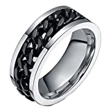 Aienid Wedding Ring for Men Stainless Steel Spinner Chain Eternity Engagement Ring