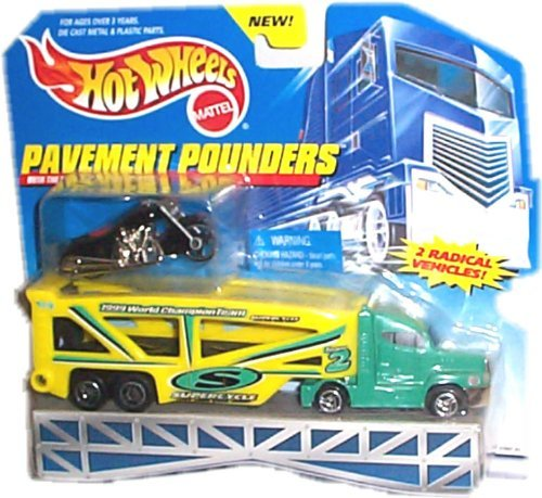 Hot Wheels - Pavement Pounders Transport Rig (Tractor/Trailer) and Black Motorcycle Replicas