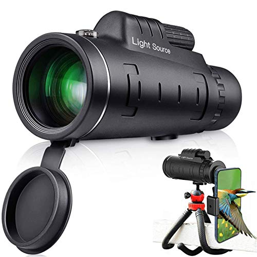 LS Monocular Telescope, 12X52 High Power HD Monocular with Premium Adjustable Tripod for Hiking, Fishing, Hunting, Bird Watching, Travelling and Other Outdoor Activities, Great Gift