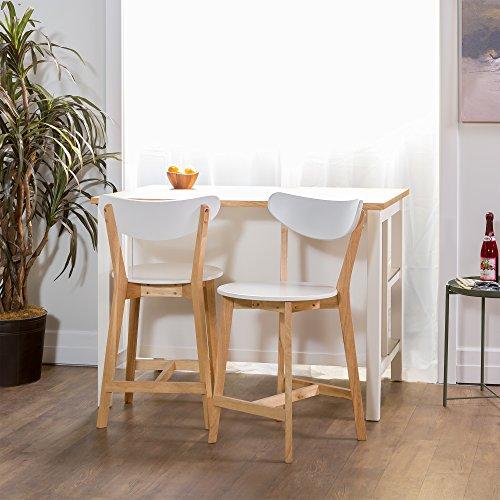 WE Furniture Set of 2 Retro Modern Barstools - White/Natural ()