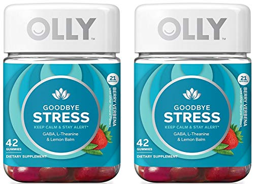 Olly ZSXD Goodbye Stress Gummy Supplement, with GABA, L-THEANINE and Lemon Balm; Berry Verbena; 42 Count, 21 Day Supply (Packaging May Vary), 2 Pack