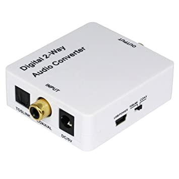 HopCentury 2-Way Audio bidireccional adaptador convertidor óptico SPDIF TOSLINK/Coaxial Audio Switcher divisor