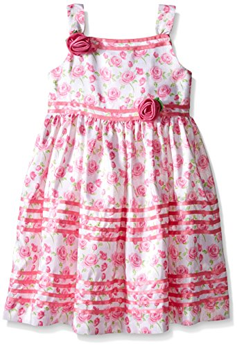 American Princess Little Girls' Toddler White Pink Ribbon Shantung Dress, 2T