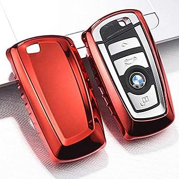 Amazon.com: QBUC 2Pack Genuine Leather keychain for BMW Key ...