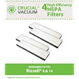 4 Bissell Style 8 & 14 Lift-Off Bagless HEPA Filters; Compare to Bissell Part# 3091; Designed & Engineered by Think Crucial